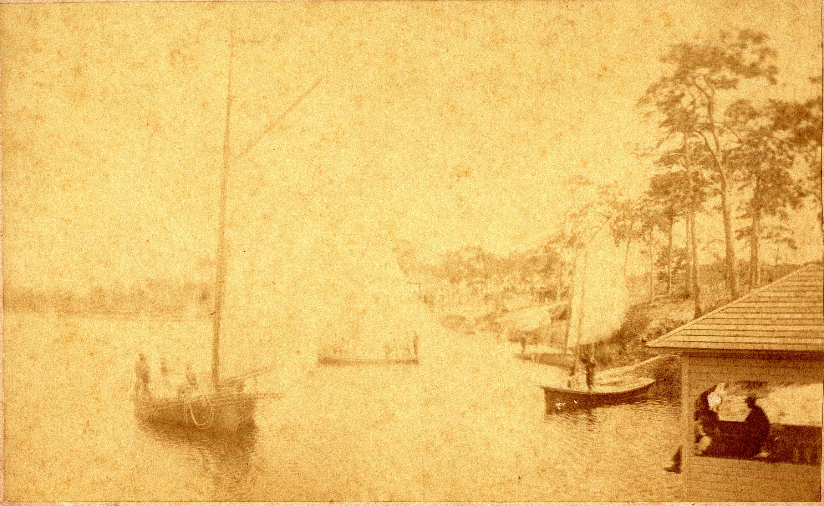 Sloops Tantalus, owned by Joshua Boyer, and Vanessa, owned by Lew Giles, on Spring Bayou in Tarpon Springs, Florida, 1885.