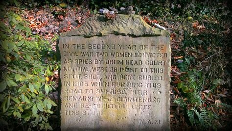 Marker for two slain women who were supposedly convicted of being spies during the second year of the Civil War. Photo take by Steven Adams, November 11, 2013.