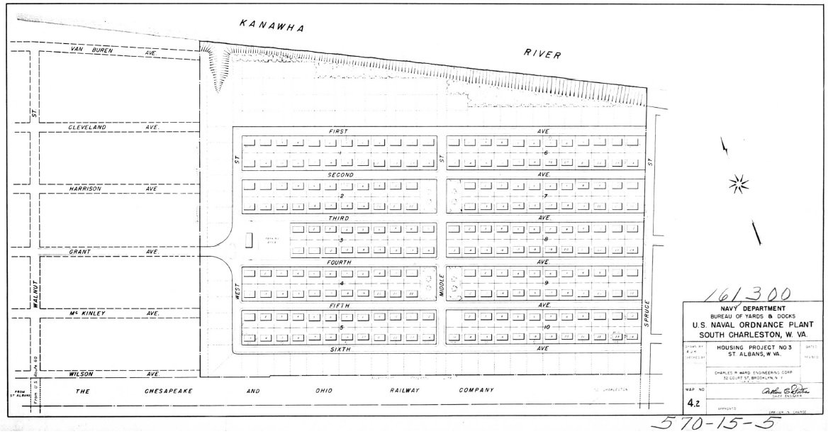 Ordnance Park Plot Plan of 1941, before any streets had yet received names. National Archives.