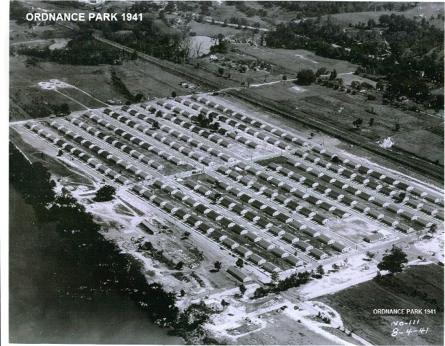 Ordnance Park in 1941, as photographed by Charleston-based photographer Sprague A. Bollinger. Bollinger was hired by the Navy to take photographs of the newly completed development. Photo property of the St. Albans Historical Society