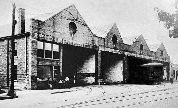 Photo of the car barn around 1920
