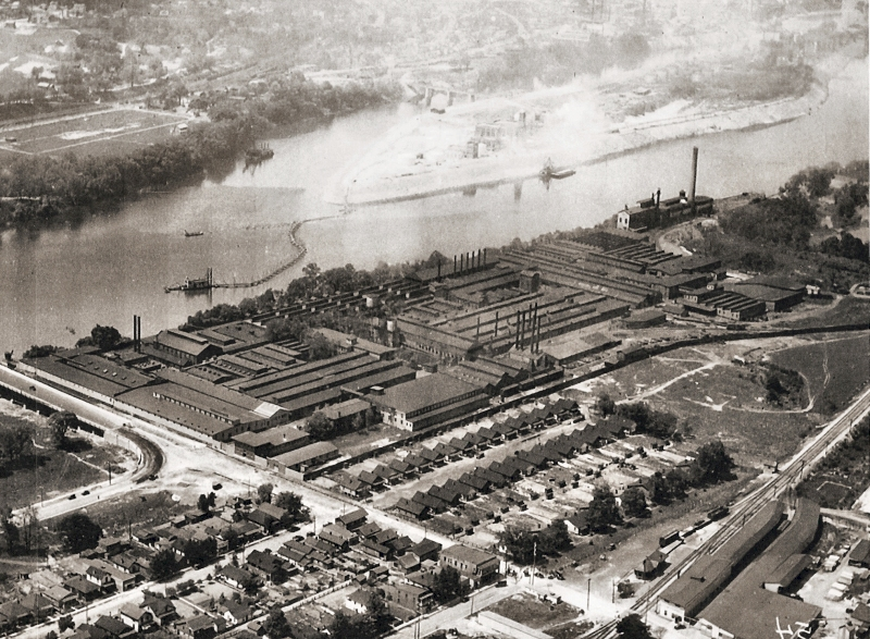 Aerial view of Kelly Axe and Tool Company circa 1930