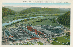 postcard featuring glass factory