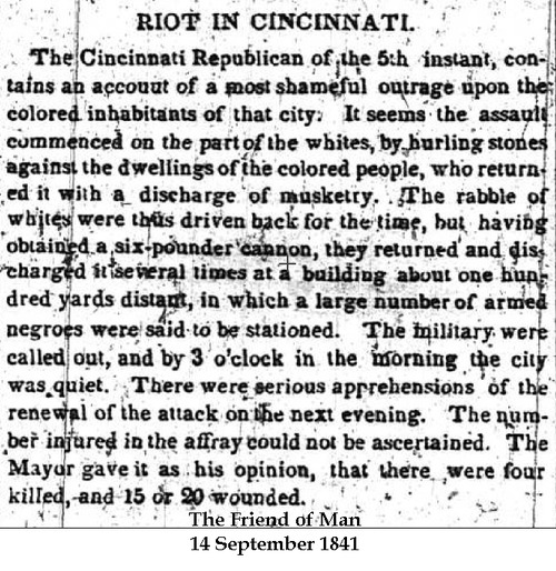 Abolitionist newspaper's coverage of the Cincinnati Race Riot of 1841