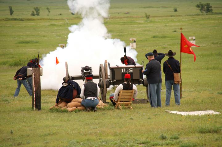 Volunteers shooting live cannons