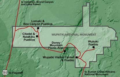 Wupatki National Monument park map