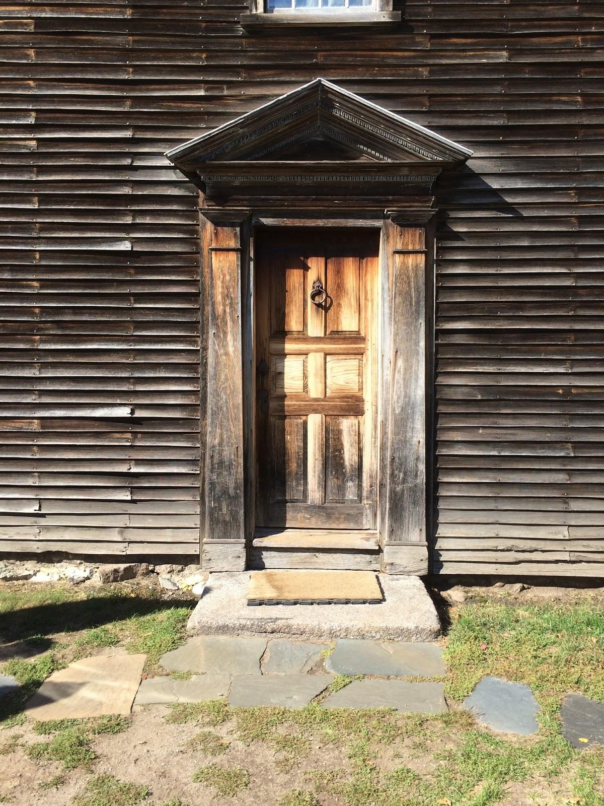 The elaborate front doorway of John Adams' Birthplace, Courtesy of the Calamitous Botanicus blogspot.