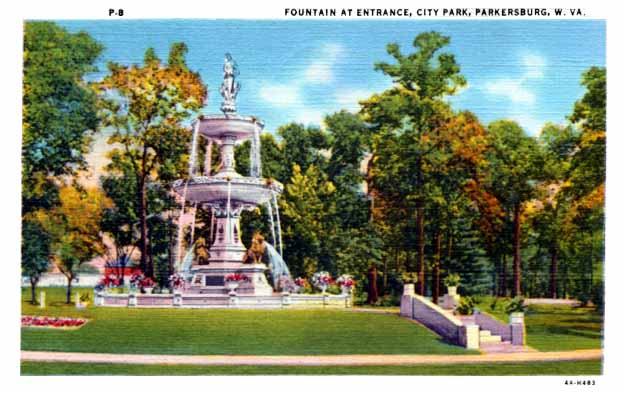 This postcard demonstrates the original physical appearance of the Jackson Memorial Fountain.