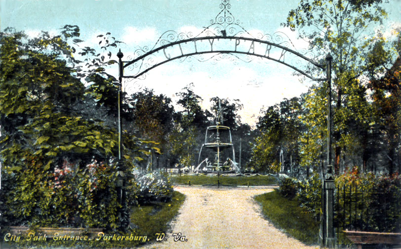 A photograph of the entrance of the Parkersburg City Park in the early 20th century