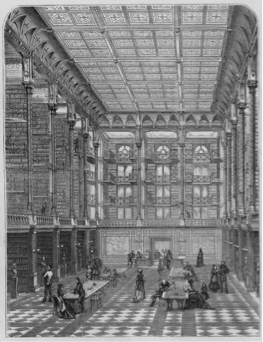 This early sketch of the historic library appeared in Harpers Bazaar in the late 19th Century.