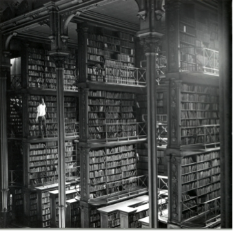 The library employed dozens of pages who retrieved books from these multi-story shelves.