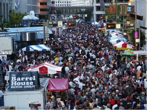 Birds eye view of the festival