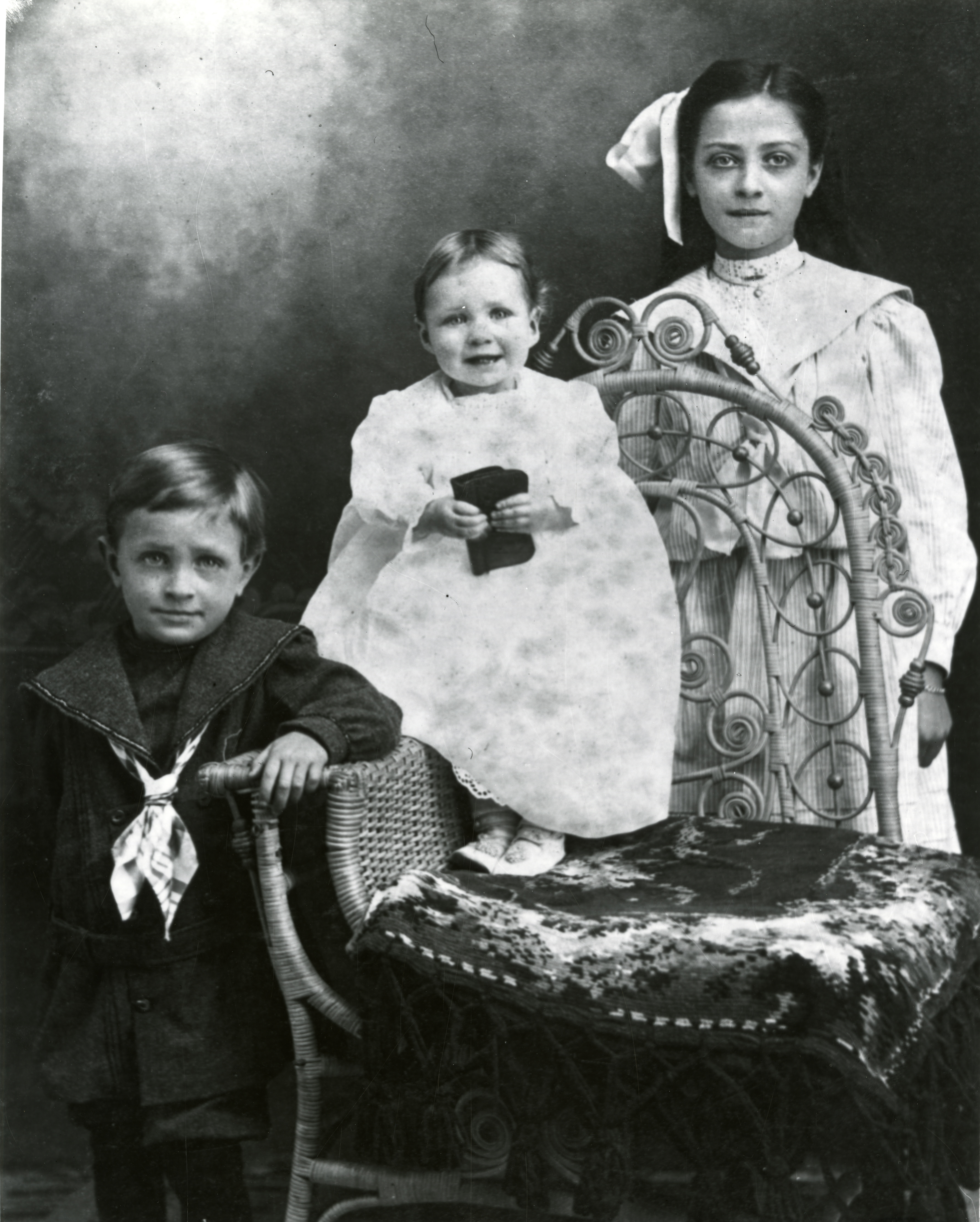 Sumner, Corinna, and Laura Lowe, circa 1905.