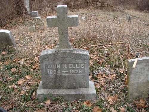 One of the cemetery's earliest headstones (John H. Ellis, 1884-1929)