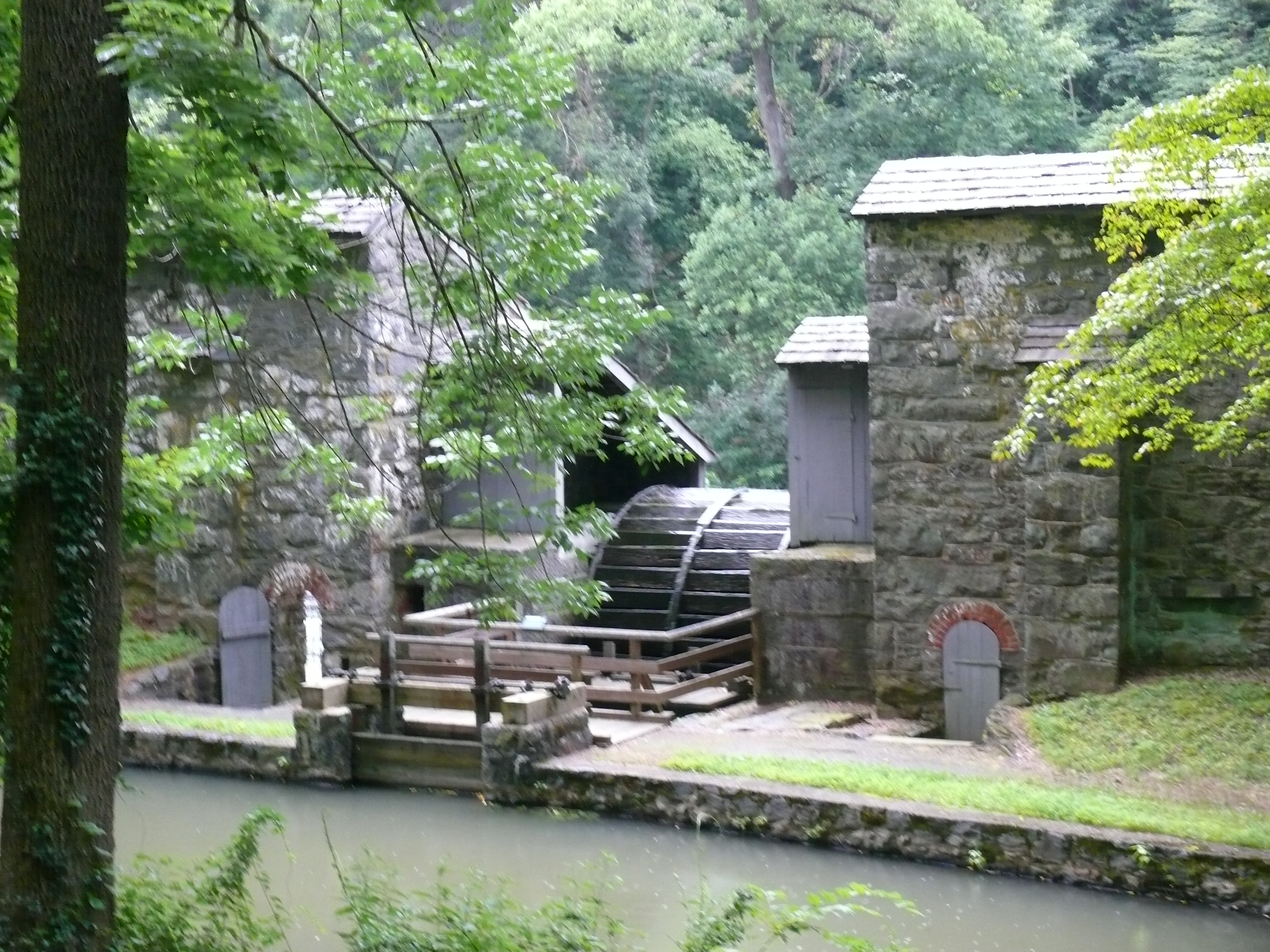 The water wheel still turns, and shows how the mills once operated.