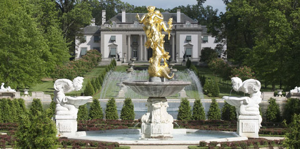 The stunning 12-foot statue that adorns the reflecting pool. The statue glints in the sun and can be seen from around the estate.
