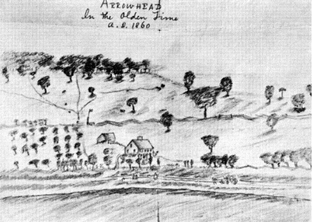 Sketch of Arrowhead estate by Melville, c. 1860