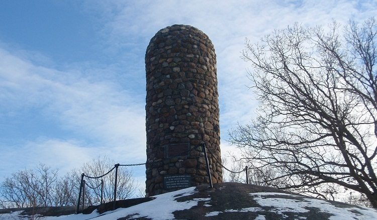 The Abigail Adams Cairn is located atop Quincy's Penn's Hill, at the corner of the Viden Road and Franklin Street, at the foot of Adams National Historical Park in Quincy, MA.