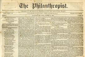A copy of Jim Burney's Philanthropist newspaper