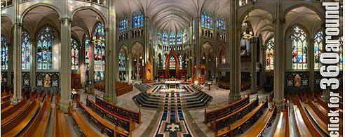 360-degree view of cathedral interior