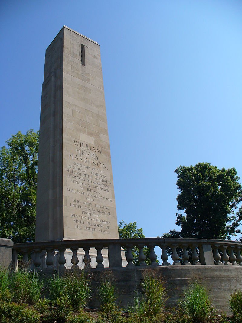 This obelisk marks the location of William Henry Harrison's tomb.