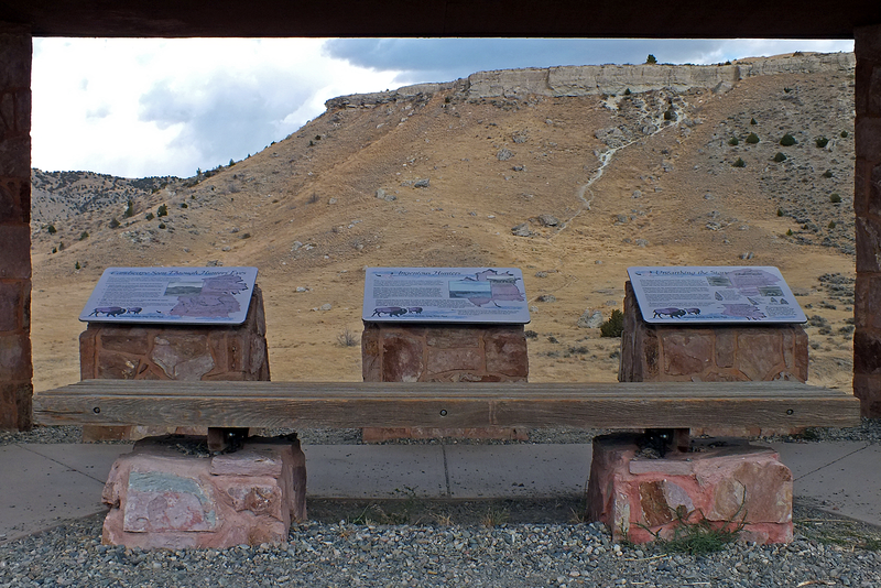 Interpretive displays at the park. The cliff is in the background.