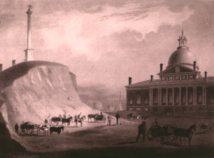 This photo shows engineers cutting down Beacon Hill in 1811. This image was taken facing north toward the Massachusetts State House.