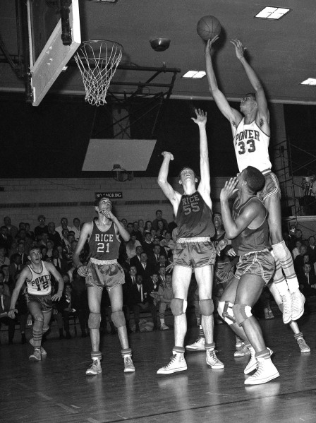 Kareem Abdul Jabbar playing basketball for Power Memorial High School