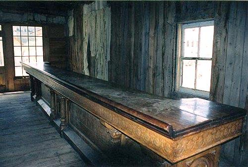 Old bar in Bannack Saloon