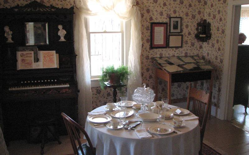 A look at the dining room of the Carry A. Nation home. Much of the furniture and many items in the exhibit were donated by locals.