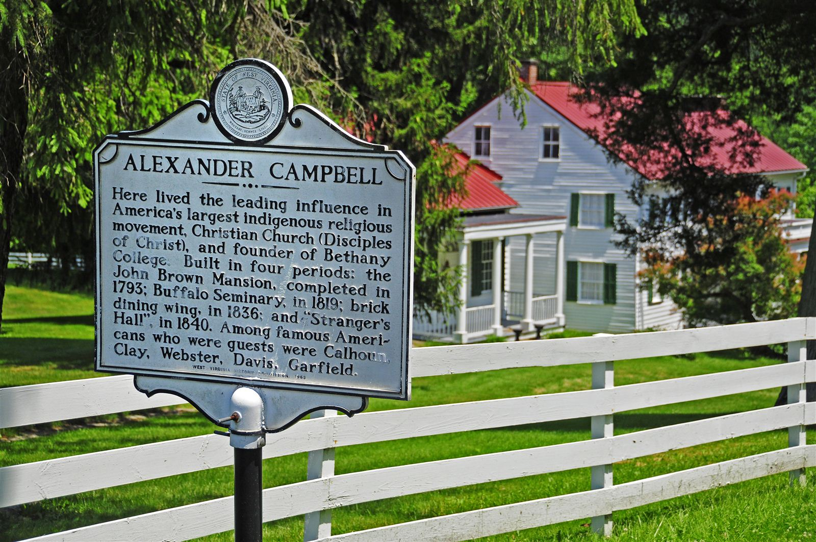 Historical Marker in front of Alexander Campbell's Mansion