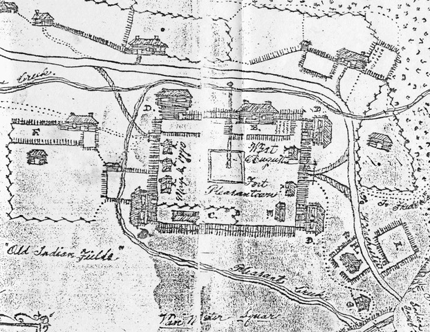 James Witt sketched this plan of Fort Pleasant in 1770, which today resides in the Hardy County Library