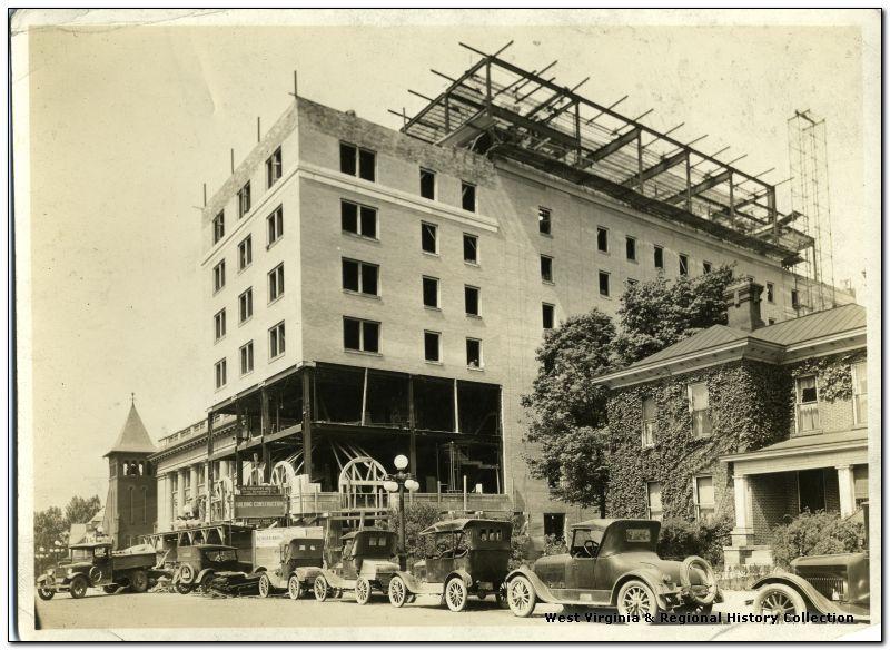 The original Hotel Morgan during the construction process, 1925