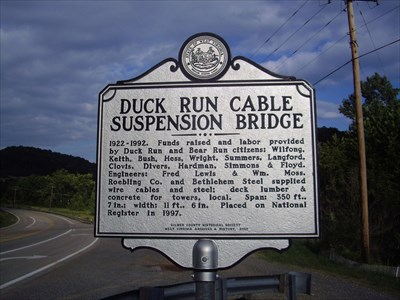 Historical Marker for the Duck Run Cable Suspension Bridge