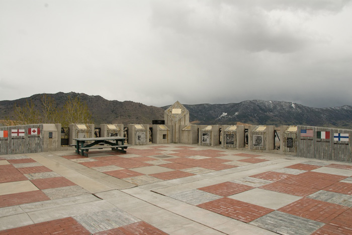 The plaza with the mountains in the background
