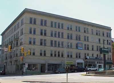 Once a luxury hotel, the building is now mixed-use commercial and residential.