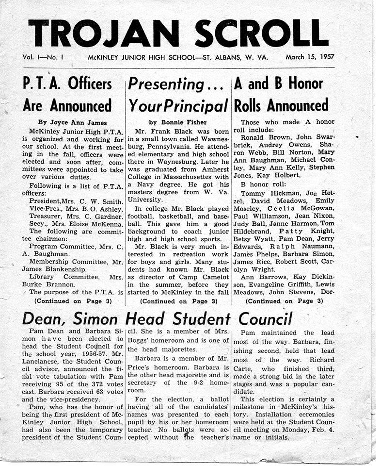 Trojan (McKinley) Newspaper 1957