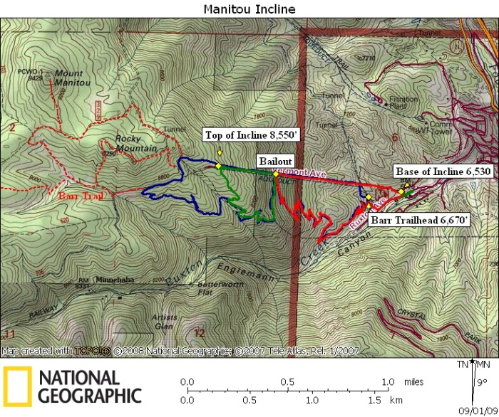 Topographical Map of the Incline