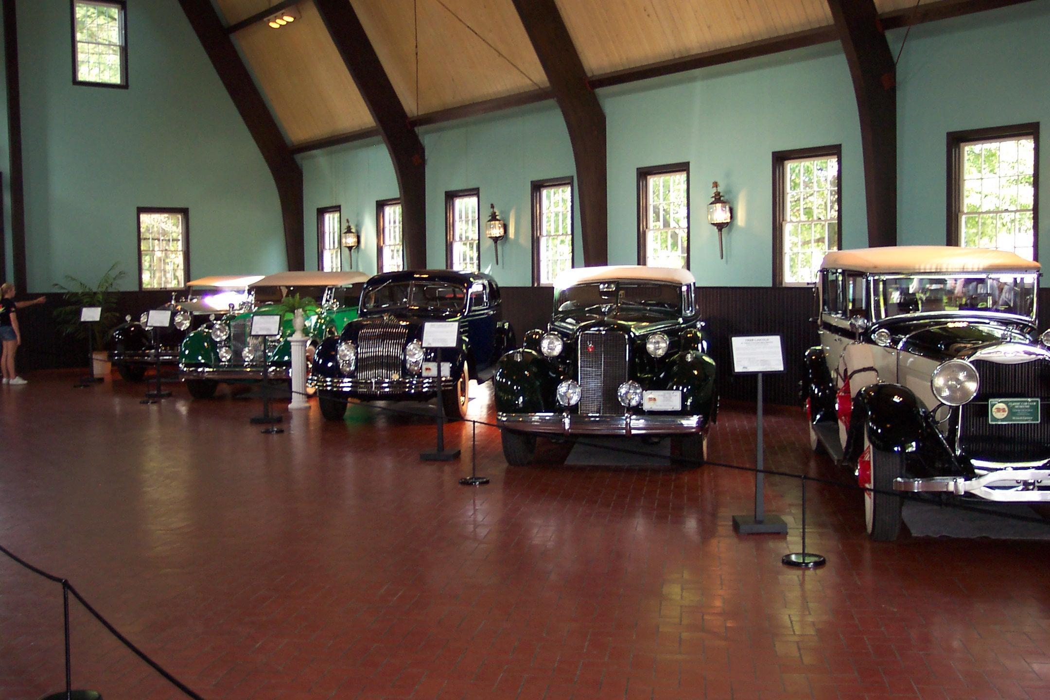 Various vintage cars on display