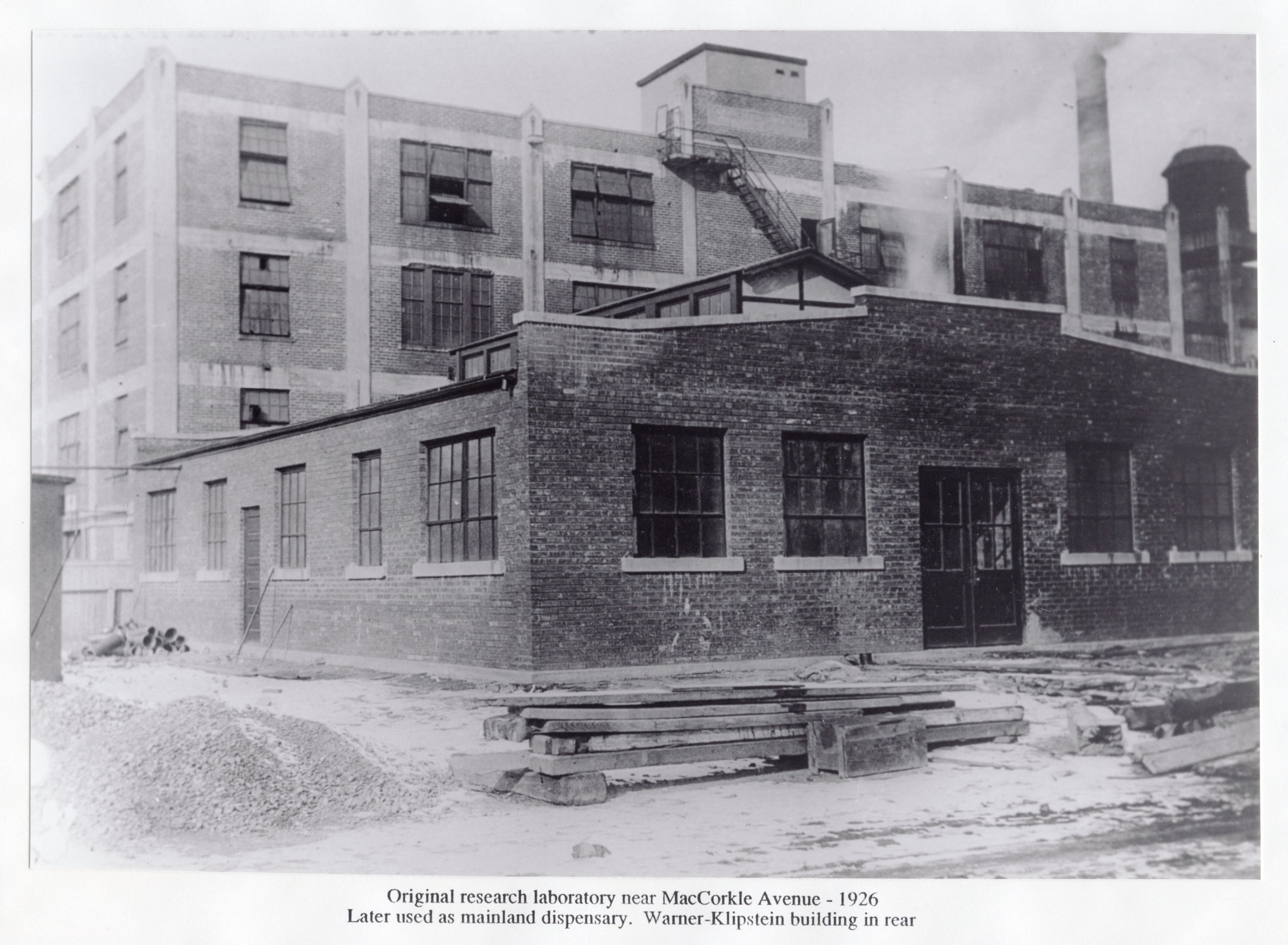 The original research laboratory circa 1926--only a year after Carbide leased the South Charleston site. The Warner-Klipstein building behind it belonged to a chemical manufacturing firm already established in the city (R. Hieronymus).