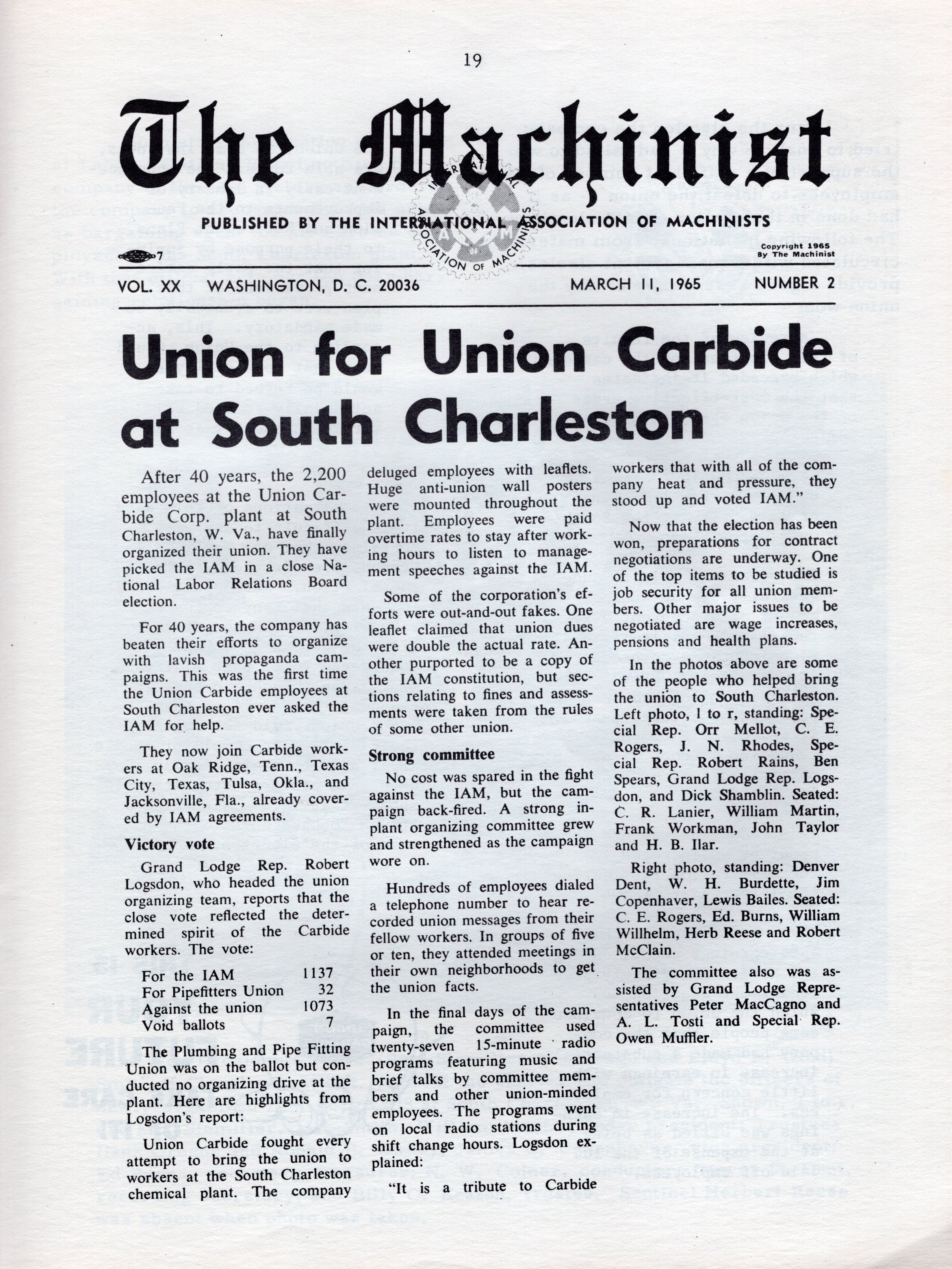 Union at last. The International Association of Machinists newsletter announces the successful vote to unionize at Carbide's South Charleston Plant (courtesy of IAM 598).