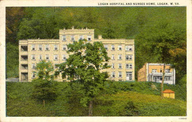 Logan Hospital and Nurses Home before extending to hang over the Guyandotte (Postcard courtesy of Lindapages.com).