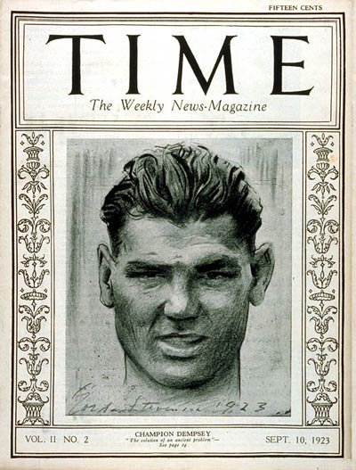 Jack Dempsey on the cover of TIME Magazine (circa September 10th, 1923).