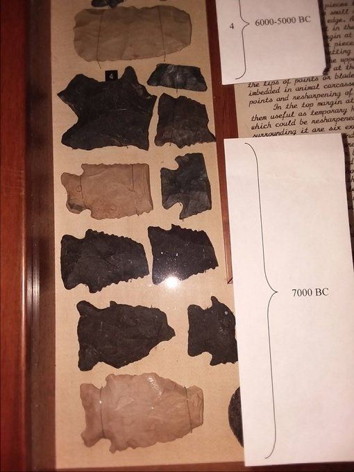 Close-up of arrow heads (points) and fragments found at the Archaeological Site