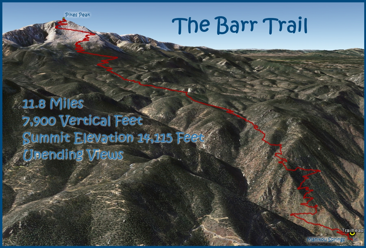 Main Trail from Manitou Springs to the top of Pikes Peak. The Barr Trail stretches 13 miles from its trail head in Manitou Springs to the top of Pikes Peak.