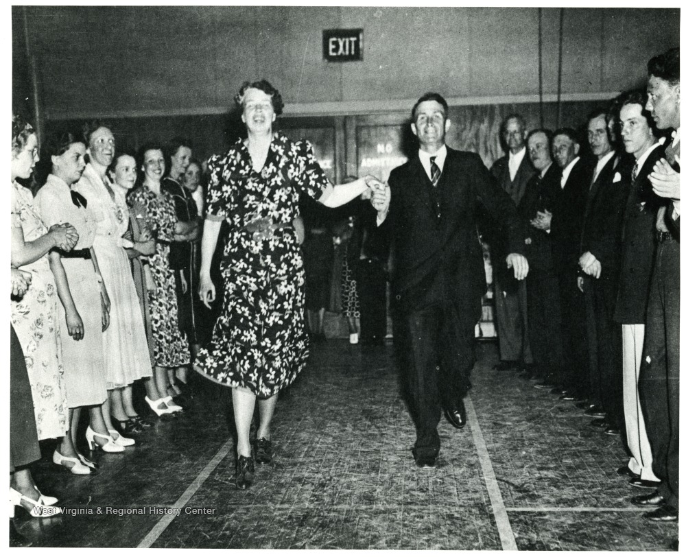 Eleanor Roosevelt square dancing at Arthurdale, 1939.