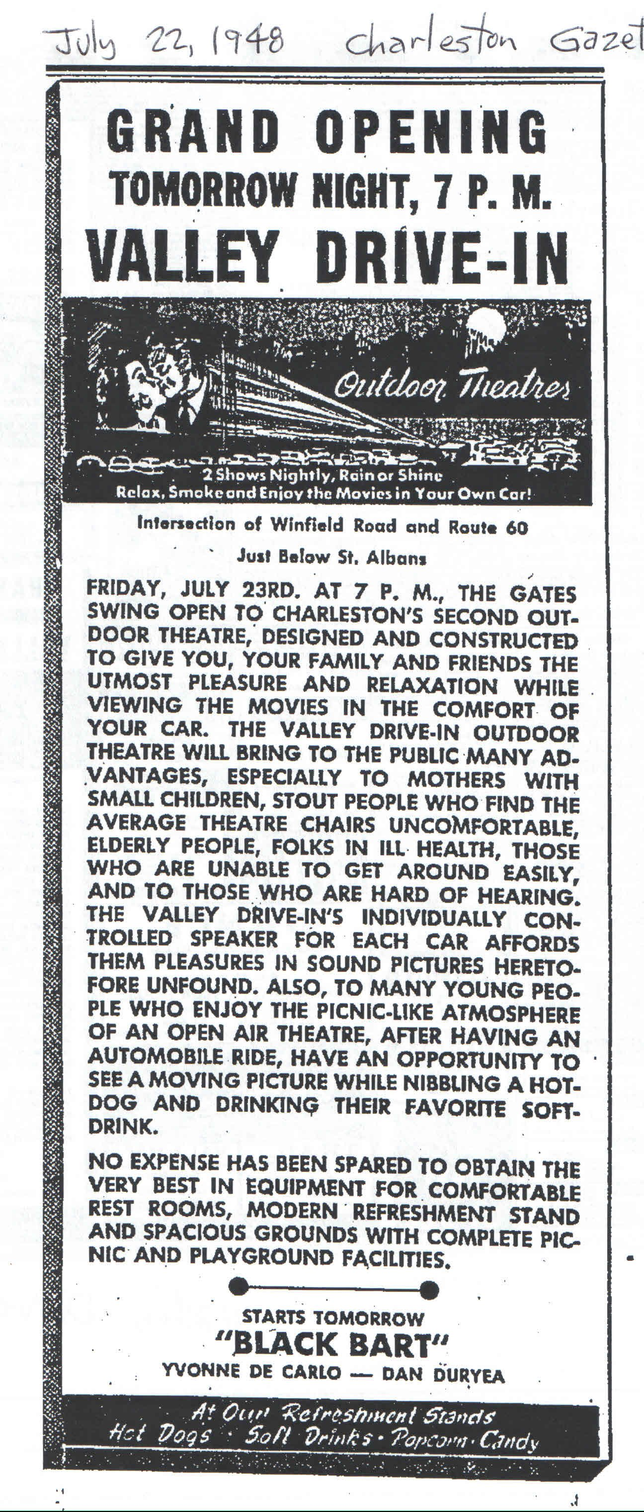 Former Valley Drive in Theater Grand Opening ad (1948)