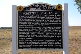 This historical marker is located near Carver's Kansas homestead.