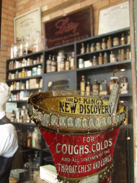 Replica 1880s drugstore.
