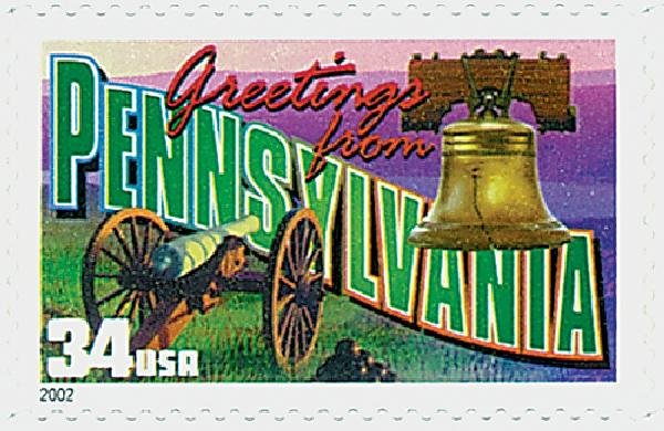 Issued in 2002, as part of the Greetings From America commemorative stamp series. This stamp includes the Liberty Bell, a prominent landmark in Philadelphia, and a cannon that represents the Civil War and the Battle of Gettysburg.